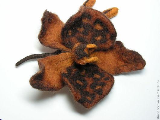 """Броши ручной работы. Ярмарка Мастеров - ручная работа. Купить Брошь """"Орхидея-Хищница"""". Handmade. Коричневый, оригинальное украшение"""