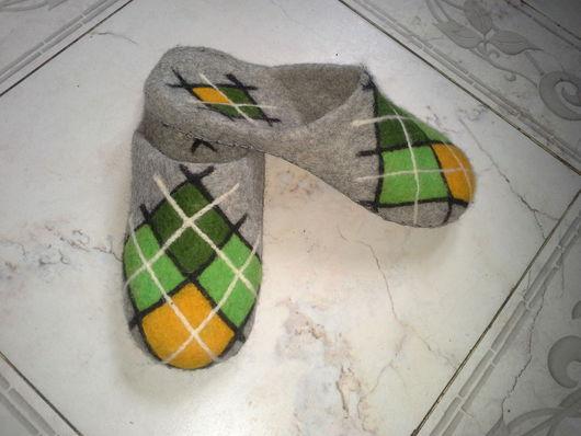"""Обувь ручной работы. Ярмарка Мастеров - ручная работа. Купить """"Ромбы"""" Валяные тапочки. Handmade. Войлочные тапки, подарок бабушке"""