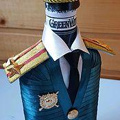 Бутылки ручной работы. Ярмарка Мастеров - ручная работа Полковник Росгвардии-бутылка в военной форме. Handmade.
