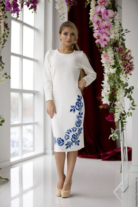 """Платья ручной работы. Ярмарка Мастеров - ручная работа. Купить Платье """"Гжель knit"""". Handmade. Комбинированный, Вышивка крестом"""