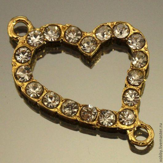 Металлические подвески коннекторы на две нити Сердце миди усыпанные стразами для использования в сборке украшений Металл сплав с покрытием имитация золота