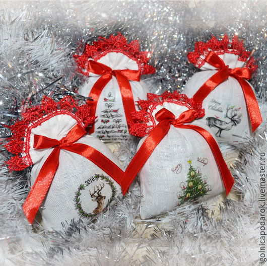 Новый год 2017 ручной работы. Ярмарка Мастеров - ручная работа. Купить Новогодний набор саше с лавандой в красном цвете. Handmade.