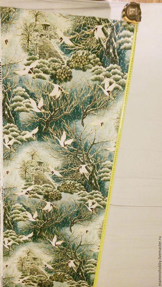 Шитье ручной работы. Ярмарка Мастеров - ручная работа. Купить Ткань Хлопок Металлик Рождественские журавли. Handmade. Ткань хлопок