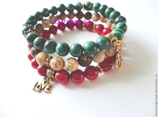 Набор браслетов на резинке натуральный камень коралл красный, яшма земляная и малахит 8 мм. Цена за набор 1250 руб.