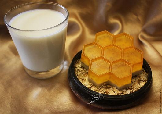 Мыло ручной работы с молоком, мёдом и овсянкой.Очищение ,питание и увлажнение кожи. Edenicsoap.