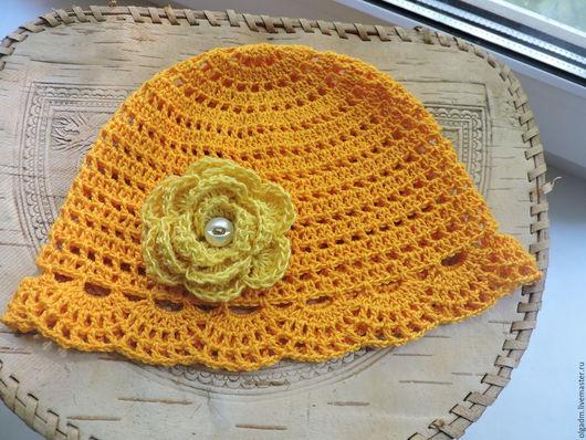 Панамы ручной работы. Ярмарка Мастеров - ручная работа. Купить Желтая летняя шапочка. Handmade. Желтый, панамка крючком