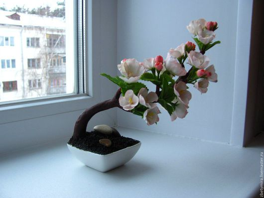 Бонсай ручной работы. Ярмарка Мастеров - ручная работа. Купить Бонсай Сакура из полимерной глины. Handmade. Бледно-розовый, бонсай