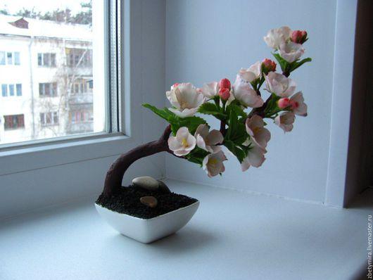 Бонсай ручной работы. Ярмарка Мастеров - ручная работа. Купить Бонсай Сакура из полимерной глины. Handmade. Бледно-розовый, сакура