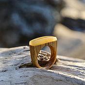 Украшения handmade. Livemaster - original item Elegant wooden ring with amber. Handmade.