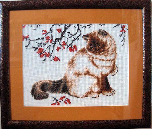 """Животные ручной работы. Ярмарка Мастеров - ручная работа. Купить Вышитая картина """"Задумчивый кот"""". Handmade. Вышивка, вышивка крестиком"""
