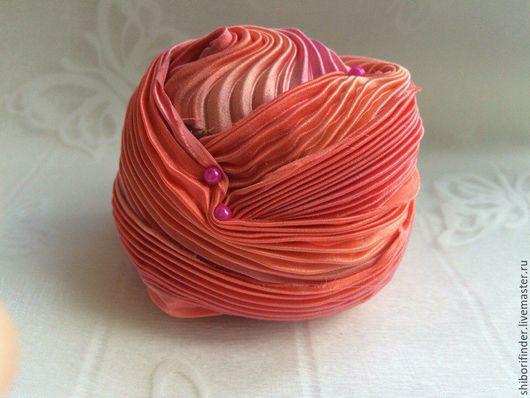 Для украшений ручной работы. Ярмарка Мастеров - ручная работа. Купить №61 Коралловый берег Ленты Шибори Silk Ribbons Shibori. Handmade.