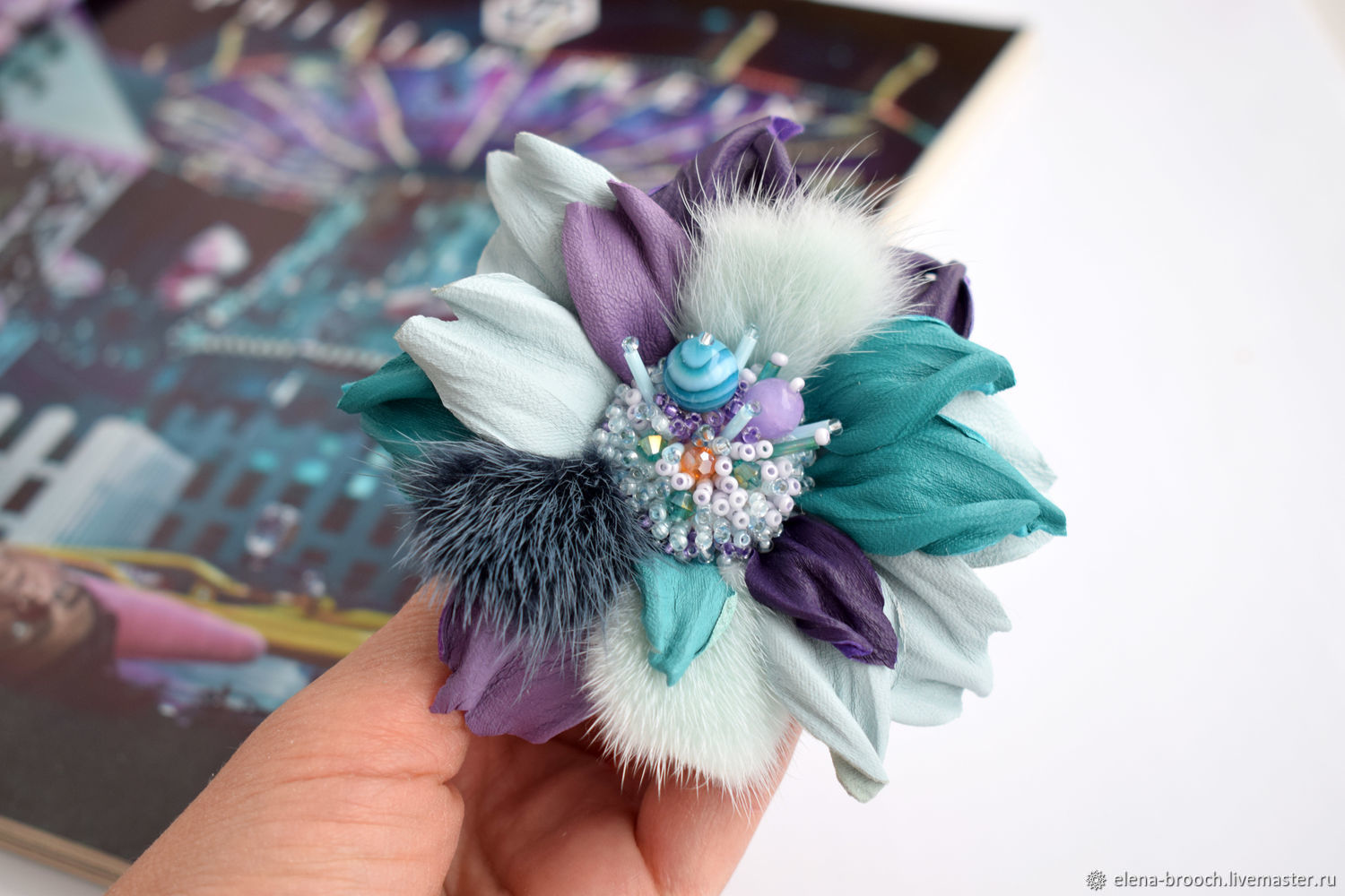 brooch made of leather and fur, Brooches, Noyabrsk,  Фото №1