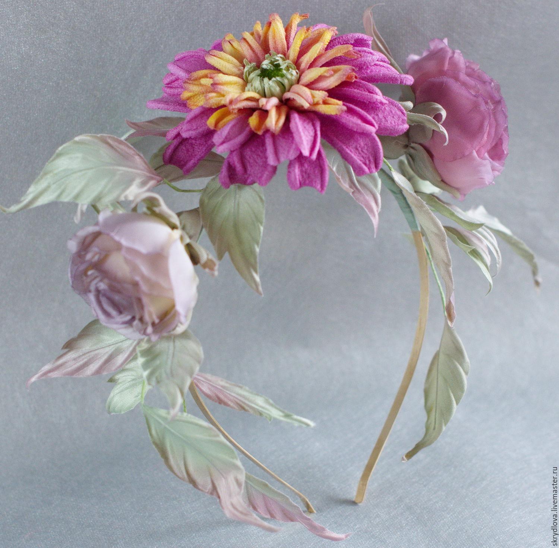 Rim flower hair silk ' Summer noon', Headband, Lyubertsy,  Фото №1