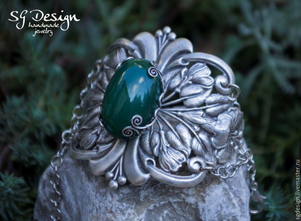 Bracelet silver For Inna, green Chrysoprase, emerald, Bead bracelet, Yalta,  Фото №1