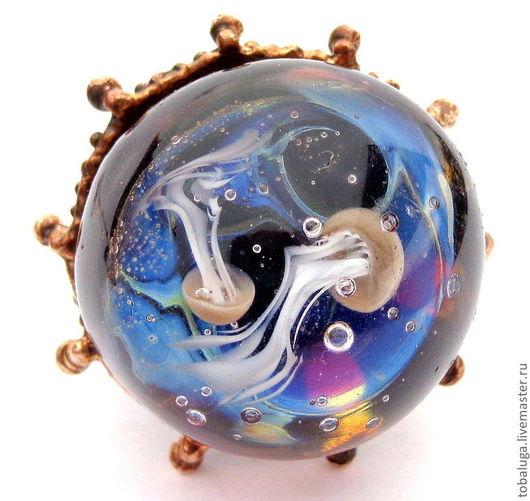 Кольца ручной работы. Ярмарка Мастеров - ручная работа. Купить Кольцо Морская стихия. Handmade. Синий, кольцо лэмпворк, морской