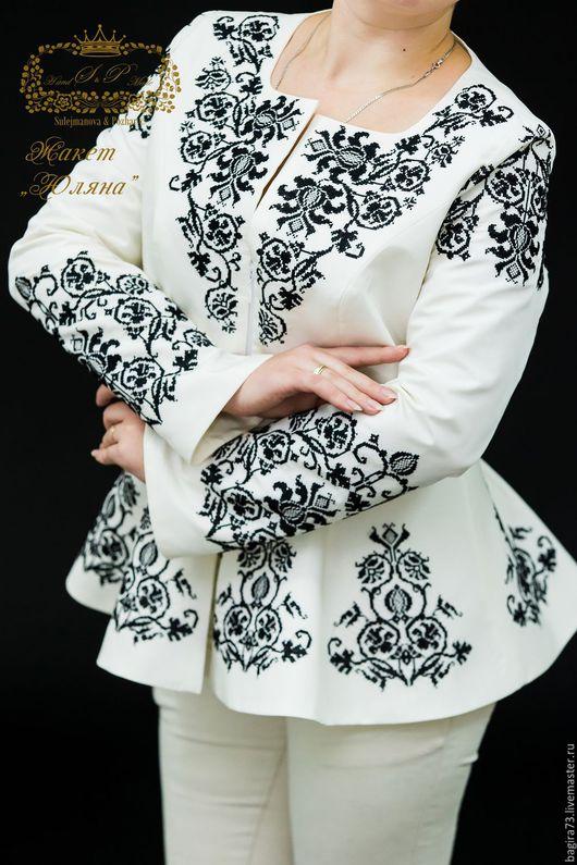 """Пиджаки, жакеты ручной работы. Ярмарка Мастеров - ручная работа. Купить """"Юляна"""". Handmade. Белый, вышивка на одежде, черный"""