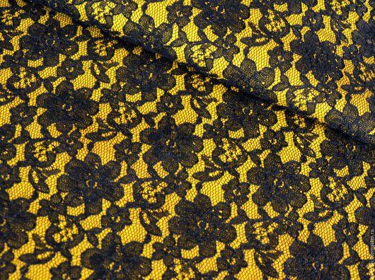 Шитье ручной работы. Ярмарка Мастеров - ручная работа. Купить Натуральная кожа КРС 1,8 мм - Черный гипюр на желтом. Handmade.