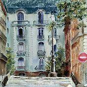 Картины и панно handmade. Livemaster - original item Pastel painting about Paris (olive mint city landscape). Handmade.