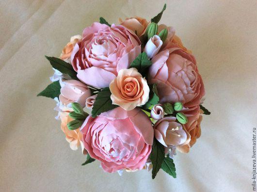 """Свадебные цветы ручной работы. Ярмарка Мастеров - ручная работа. Купить Букет невесты с цветами из полимерной глины """" Розовые мечты """". Handmade."""