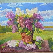 Картины и панно ручной работы. Ярмарка Мастеров - ручная работа Пейзаж с букетом сирени. Handmade.