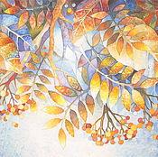 """Картины и панно ручной работы. Ярмарка Мастеров - ручная работа Батик """"Морозная рябина"""". Handmade."""