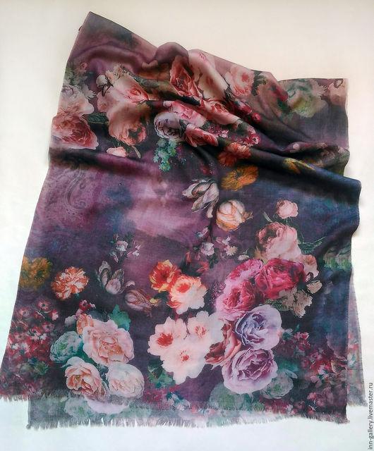 """Валяние ручной работы. Ярмарка Мастеров - ручная работа. Купить Палантин из шерсти """"Страсть цветов"""". Handmade. Комбинированный, принт на ткани"""