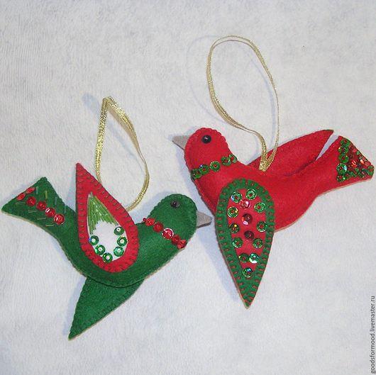 Новый год 2017 ручной работы. Ярмарка Мастеров - ручная работа. Купить Дуэт рождественских птичек. Handmade. Птичка, сувенир