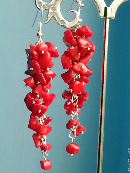 Серьги ручной работы. Ярмарка Мастеров - ручная работа. Купить Серьги-грозди из коралла. Handmade. Серьги грозди, красные серьги
