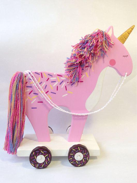 """Развивающие игрушки ручной работы. Ярмарка Мастеров - ручная работа. Купить Лошадка-каталка """"Единорог розовый"""". Handmade. Бледно-розовый"""