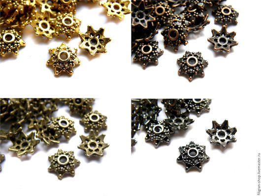Для украшений ручной работы. Ярмарка Мастеров - ручная работа. Купить Шапочки для бусин 10 мм, золото, медь, бронза, черные. Handmade.