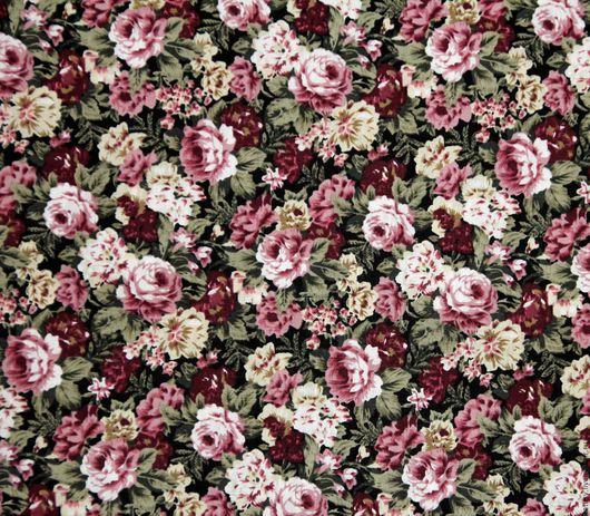 Шитье ручной работы. Ярмарка Мастеров - ручная работа. Купить Ткань хлопок премиум Розы на бордовом( прованс, шебби). Handmade.