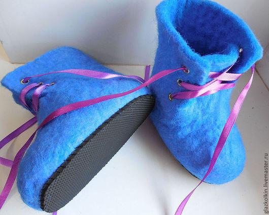 Обувь ручной работы. Ярмарка Мастеров - ручная работа. Купить Валенки (ботинки) детские. Handmade. Голубой, валенки, пинетки