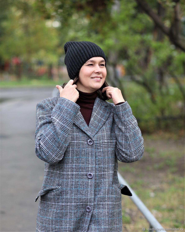 Шапка стильная вязаная резинкой Графика, Шапки, Москва,  Фото №1