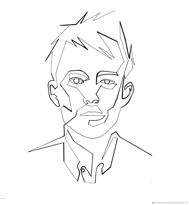 Минималистичный геометрический портрет одной линией по фото на заказ, Иллюстрации, Москва,  Фото №1