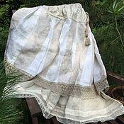 Одежда ручной работы. Ярмарка Мастеров - ручная работа Юбка бохо белый лен летняя. Handmade.