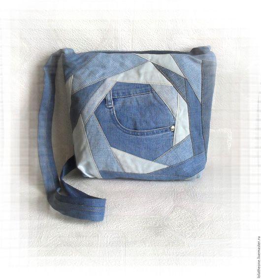Женские сумки ручной работы. Ярмарка Мастеров - ручная работа. Купить Джинсовая сумка Crazy Style. Handmade. Синий