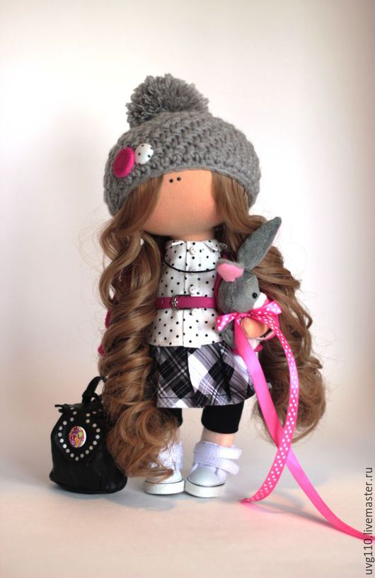 Коллекционные куклы ручной работы. Ярмарка Мастеров - ручная работа. Купить Интерьерная куколка. Handmade. Фуксия, клетка, кукла интерьерная
