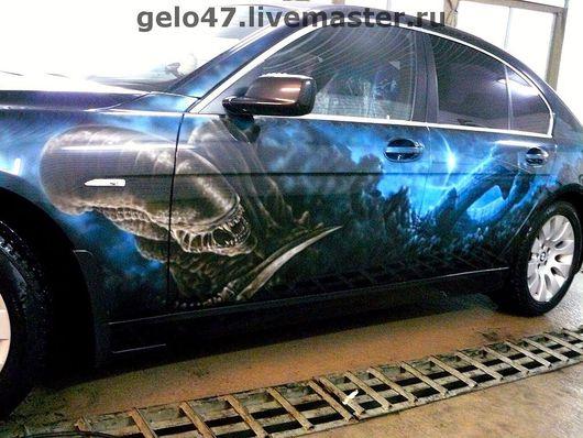 """Декор автомобилей ручной работы. Ярмарка Мастеров - ручная работа. Купить Аэрография на  BMW7 """"Чужой"""". Handmade. Автомобиль, автомобильная аэрография"""