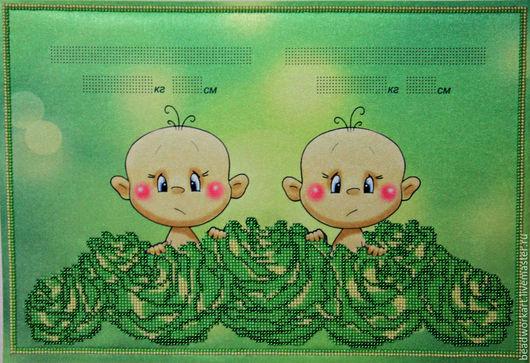 """Для новорожденных, ручной работы. Ярмарка Мастеров - ручная работа. Купить Детская метрика """" Близняшки"""". Handmade. Зеленый"""