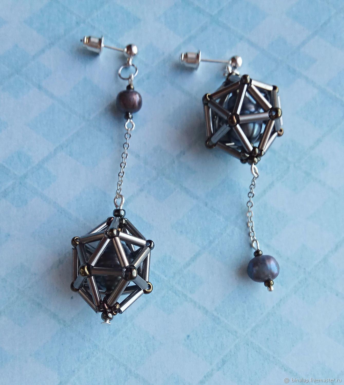 Earrings with pearls ' Galaxy', Earrings, Moscow,  Фото №1
