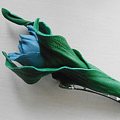 Украшения handmade. Livemaster - original item THE COLORS OF THE SKIN.Hair clip machine hair Blue TULIP.Silk flowers. Handmade.