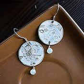 Украшения handmade. Livemaster - original item Silver earrings with moonstone (adular), Boho earrings round White. Handmade.