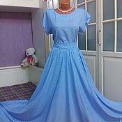 Одежда ручной работы. Ярмарка Мастеров - ручная работа Штапельное платье в пол Горошек на голубом 2. Handmade.