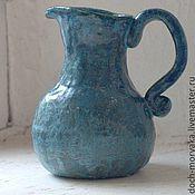Посуда ручной работы. Ярмарка Мастеров - ручная работа небольшой синий кувшинчик. Handmade.