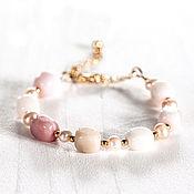 Свадебный салон ручной работы. Ярмарка Мастеров - ручная работа 620_Розовый браслет, Браслет из опала, Пастельный жемчужный браслет. Handmade.