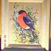 Картины и панно handmade. Livemaster - original item the picture winter bullfinch beaded embroidery. Handmade.