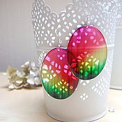 Украшения handmade. Livemaster - original item Transparent Earrings Rainbow Epoxy Pink Green White Boho. Handmade.
