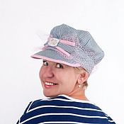 Аксессуары handmade. Livemaster - original item Cap. caps. Cap. Denim cap. Cap, striped. Summer caps.. Handmade.