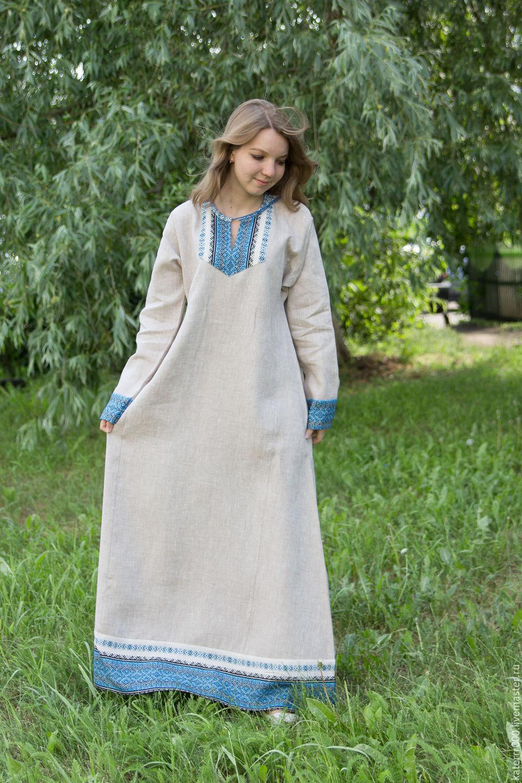 Выкройки платья из льна. Как сшить славянское платье