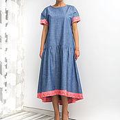 Одежда ручной работы. Ярмарка Мастеров - ручная работа Джинсовое богемское макси миди платье с карманами, большие размеры. Handmade.